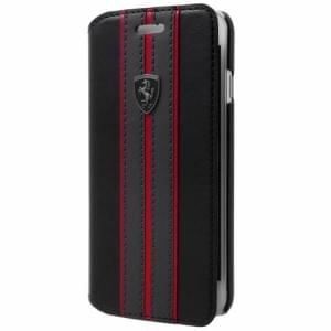 Ferrari Off Track Echtleder Tasche / Book Case iPhone XR Schwarz