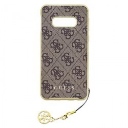 Guess Charms Hard Case 4G / Hülle für Samsung Galaxy S10 Braun