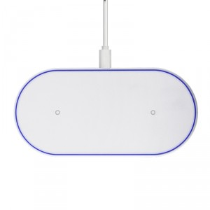 Dual Phone Wireless Lade Pad Weiß Qi Ladegerät Kabellos