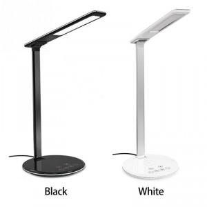 Tischlampe mit Wireless LadePad QI Standard Weiss mit Sleep Time