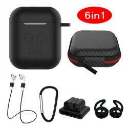 6in1 Silikon Cover mit Zubehör für Apple AirPods Schwarz