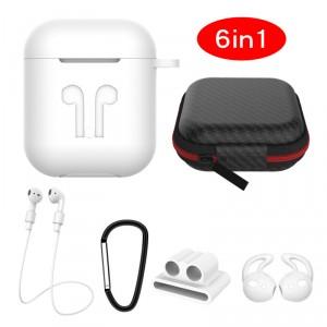 6in1 Silikon Cover mit Zubehör für Apple AirPods Weiß