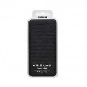 Original Samsung EF-WA405PBE Flip Walltet Cover / Tasche Galaxy A40 (2019) Schwarz