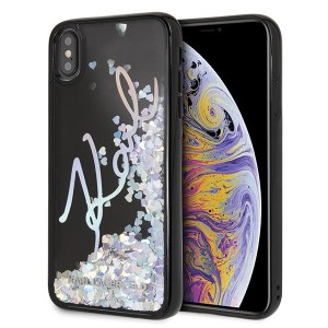 Karl Lagerfeld Iridescent Liquid Glitter Hülle iPhone Xs Max Schwarz