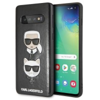 Karl Lagerfeld Choupette Embossed Cover Samsung Galaxy S10+ Plus Schwarz