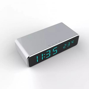Wecker + Smartphone Wireless Lade Pad Silber Qi Standard