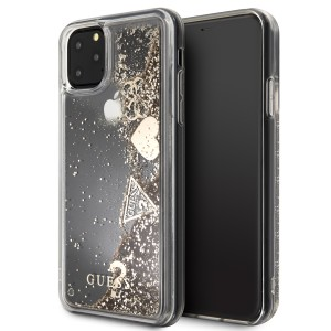 Guess Hülle Hearts Glitter iPhone 11 Pro Max Gold