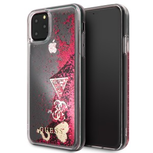 Guess Hülle Hearts Glitter iPhone 11 Pro Max Himbeere