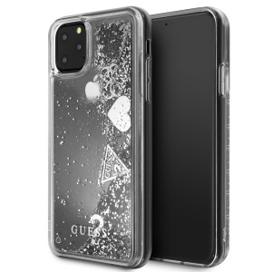 Guess Hülle Hearts Glitter iPhone 11 Pro Max Silber