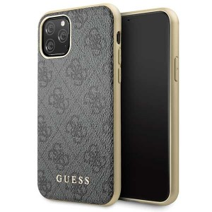 Guess Lederhülle Charms 4G Kollektion iPhone 11 Pro Grau