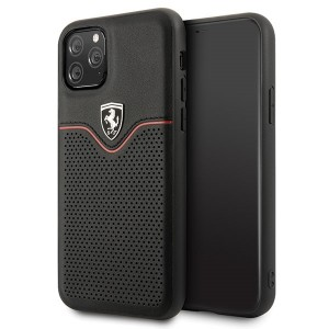 Ferrari Off Track Echtleder Hard Case iPhone 11 Pro Max Schwarz