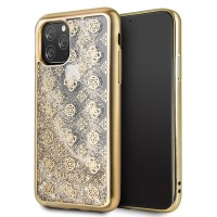 Guess 4G Peony Liquid Glitter Hülle iPhone 11 Pro Max Gold