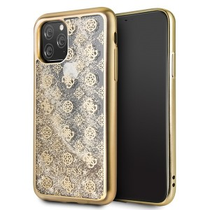 Guess 4G Peony Liquid Glitter Hülle iPhone 11 Pro Max Gold GUHCN65PEOLGGO