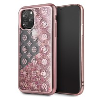 Guess 4G Peony Liquid Glitter Hülle iPhone 11 Pro Max Pink