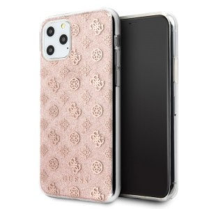 Guess 4G Peony Solid Glitter Schutzhülle iPhone 11 Pro Max Rose