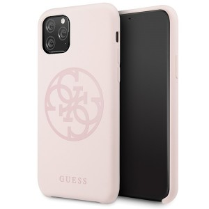 Guess 4G Silicon Collection Print Logo Schutzhülle iPhone 11 Pro Rose