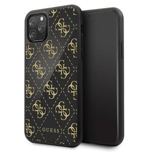 Guess 4G Dobble Layer Glitter Schutzhülle iPhone 11 Pro Schwarz / Gold
