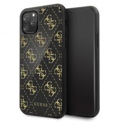 Guess 4G Dobble Layer Glitter Schutzhülle iPhone 11 Pro Max Schwarz  / Gold