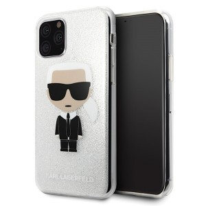 Karl Lagerfeld Iconic Glitter Schutzhülle iPhone 11 Pro Max Silber
