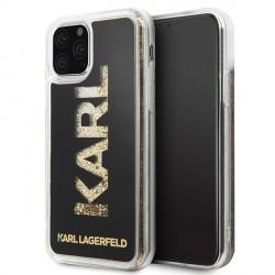 Karl Lagerfeld Liquid Glitter Karl Logo Hülle iPhone 11 Pro Max Schwarz / Gold KLHCN65KAGBK