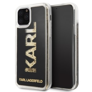 Karl Lagerfeld Liquid Glitter Gold Logo Case iPhone 11 Pro Schwarz / Gold