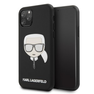 Karl Lagerfeld Iconic Embossed & Glitter Hard Case iPhone 11 Pro Max Schwarz