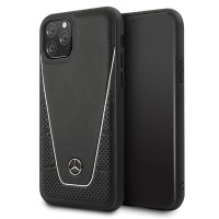 Mercedes Benz Quilted Echtes Leder Case iPhone 11 Schwarz