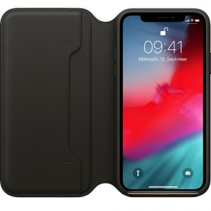Original Apple MQRV2ZM/A Ledertasche Folio Case iPhone XS / X Schwarz