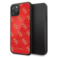 Guess 4G Dobble Layer Glitter Hülle iPhone 11 Pro Max Rot