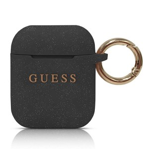 Guess Silicon Hülle / Cover mit Ring für Airpods 1 / 2 Schwarz