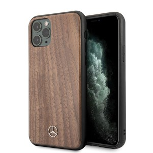 Mercedes Benz Wood Line Walnut Schutzhülle iPhone 11 Braun