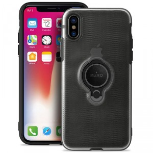 Puro iPhone XS / X Magnet Ring Cover Silikon Case Handyhülle Schwarz