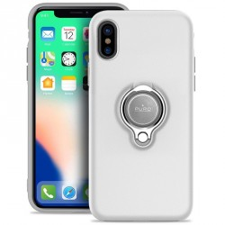Puro iPhone XS / X Magnet Ring Cover Silikon Case Handyhülle Weiss