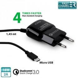 Puro Qualcomm QC 3.0 Micro USB Schnellladegerät 18W 2A Schwarz