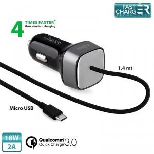 Puro Qualcomm QC 3.0 Micro USB KFZ Schnellladegerät 18W 2A Schwarz