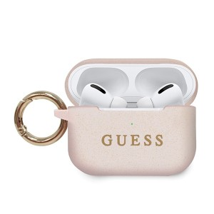 Guess Apple Airpods Pro Silicon Cover Ring pink Schutzhülle Cover Tasche Case