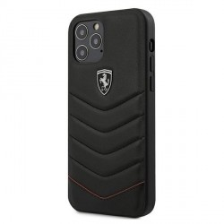 Ferrari iPhone 12 mini 5.4 Off Track Quilted Leder Schutzhülle Schwarz