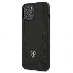 Ferrari iPhone 12 / 12 Pro 6.1 Cover Off Track Perforated Lederhülle Schwarz