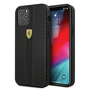Ferrari iPhone 12 / 12 Pro 6.1 On Track PU Carbon Handyhülle Schwarz