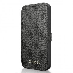 Guess 4G Charms iPhone 12 Pro Max 6.7 Grau Book Case Tasche