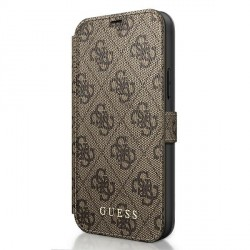 Guess 4G Charms iPhone 12 / 12 Pro 6.1 Braun Book Case Tasche
