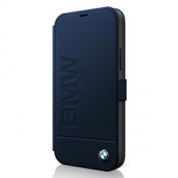 BMW Tasche iPhone 12 / 12 Pro Logo Imprint Leder Blau Book Cover Case