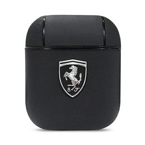 Ferrari Off Track Airpods 1 / 2 Schwarz Echtleder Schutzhülle Cover Case