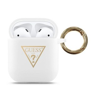 Guess Airpods 1 / 2 Printed Triangle Silicon Cover Weiss Schutzhülle Case