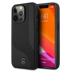 Mercedes iPhone 13 Pro Max Leather Perforated Area Hardcase Hülle Schwarz