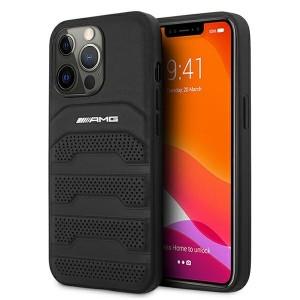 AMG iPhone 13 Pro Max Debossed Lines Leder Case Hülle Schwarz