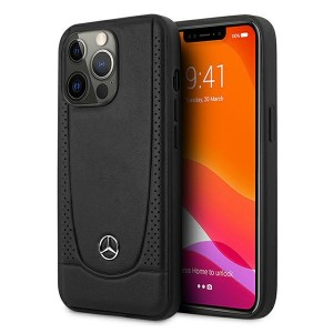 Mercedes iPhone 13 Urban Line Leather Hard Cover Hülle Schwarz
