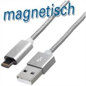 Magnet Lade / Datenkabel USB 2.0 > Lightning Stecker - 1,2 m - mit Textilummantelung - Magnet Stecker