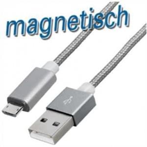 Magnet Lade / Datenkabel USB 2.0 > Micro-USB B Stecker - 1,2 m - Textilummantelung - Magnet Stecker