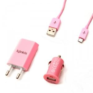 Universal Vento Travel - 3in1 Combo Charger für Micro USB Pink